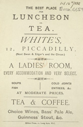 Advert for White's Restaurant